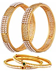 Jewels Galaxy Combo Of Broad Pearls Bangle Set And 2 Pearls Bangle Set For Women - Pack Of 4