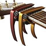 Guitar Capo (2 Pack) for Guitars, Ukulele, Banjo, Mandolin, Bass - Made of Ultra Lightweight Aluminum Metal (1.2 oz!) for 6 & 12 String Instruments - Premium Accessories by Nordic Essentials™ - (Red + Gold) - Lifetime Warranty