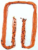 DollsofIndia Saffron Beaded Waistband - 52 inches - Saffron