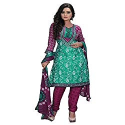 Araham Printed Sea Green Synthetic SoftCrepe Unstitched Salwar Suit Dress Material