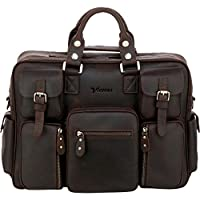 Vicenzo Titan Full Grain Heavy Duty Leather Briefcase Messenger Laptop Bag