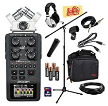 buy Zoom H6 Portable Handy Recorder Bundle With Mic Stand, Mic Stand Adapter, Mic Clip, Carrying Case, Mic Cable, Instrument Cable, Headphones, 16Gb Sd Card, Aux Cable, Aa Batteries, And Polishing Cloth