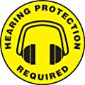 "Accuform Signs MFS1008 Slip-Gard Adhesive Vinyl  Round Floor Sign, Legend ""HEARING PROTECTION REQUIRED/SE REQUIERE PROTECCION AUDITIVA"" with Graphic, 8"" Diameter, Black on Yellow"