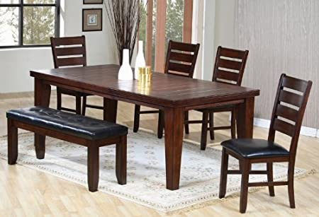 6PC Contemporary Dining Table, Chairs, and Bench Set