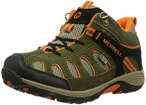 Merrell CHAM MID LC WTPF, Scarponcini da trekking Bambino, Multicolore (Mehrfarbig (OLVE/ORG)), 34
