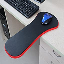 Premium Adjustable Computer Wrist Rest Armrest - Desk and Chair Dual Purpose Attachable Home&Office Computer Arm Support - Ergonomically Designed Mouse Pad Arm-stand Desk Extender (Red)