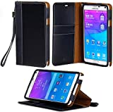 Galaxy Note 4 Case, ACEABOVE [Stand Feature] Galaxy Note 4 Wallet Case **NEW** [Book Cover Case] [Black] - Premium Genuine Leather Wallet cover with Hand Strap - Verizon, AT&T, Sprint, T-Mobile, International, and Unlocked - Leather Case with STAND Flip Cover and Credit Card ID Holders for Samsung Galaxy Note 4 2014 Model - (Black)