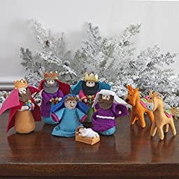 8-piece Set, Fabric Christmas Nativity Set with Wise Men & Animals, 6 Inches Tall by Raz Imports