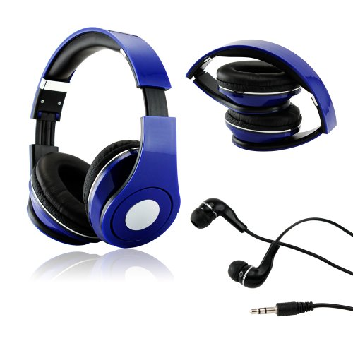 Gearonic Tm Blue Adjustable Circumaural Over-Ear Earphone Stero Headphone 3.5Mm For Ipod Mp3 Mp4 Pc Iphone Music + Free Earbuds