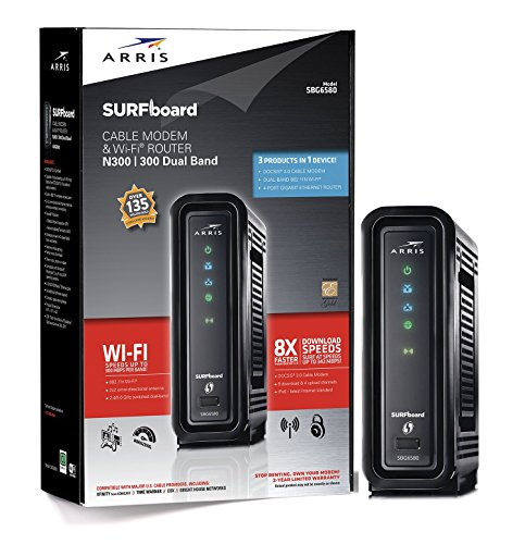 ARRIS-SURFboard-SBG6580-DOCSIS-30-Cable-Modem-Wi-Fi-N600-Router-Retail-Packaging-Black