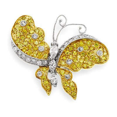14K Gold and White Gold Bonded Butterfly Brooch Pin with Clear Cubic Zirconia and CZ Citrine Accents