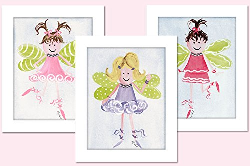 "Doodlefish 3 Piece Framed 8""x10"" Wall Art, Fairy"