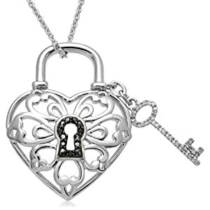 Womens Sterling Silver Key To My Heart Diamond Key Pendant Necklace 0 05 Cttw I J Color I2 Clarity 18