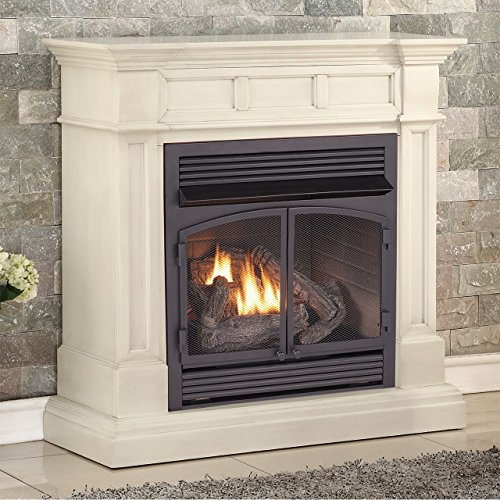 Duluth Forge Dual Fuel Vent Free Gas Fireplace - 32,000 BTU, Remote Control, Antique White Finish