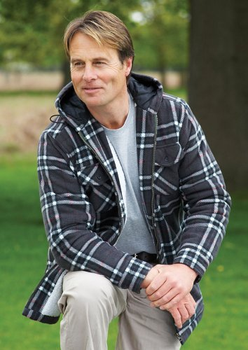 Mens Champion Montrose Country Estate Clothing Sherpa Lined Printed Hooded Fleece Jacket Gray M