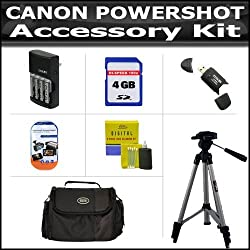 Accessory Kit For CANON POWERSHOT SX20 IS SX20 SX1 IS SX150IS SX150 IS Digital Camera Includes 4GB Secure Digital High Capacity (SDHC) Card Class + Carrying Case + AA Battery & Charger Set + Card Reader + LCD Screen Protector + 52 Inch Tripod + More