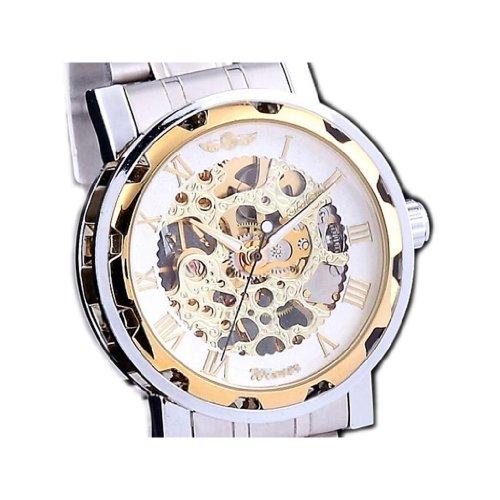 Luxury Mechanical Men'S Steampunk Skeleton Mens Men Stainless Steel Wrist Watch-Golden&White