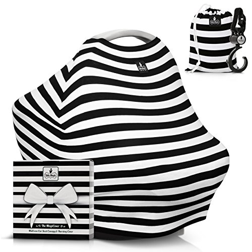 Baby Car Seat Canopy & Multi-Use Nursing Cover - FREE GIFT BOX SET -