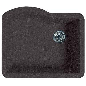 Swanstone QUSB-2522.077 24-Inch by 21-Inch Undermount Single Bowl Kitchen Sink, Nero