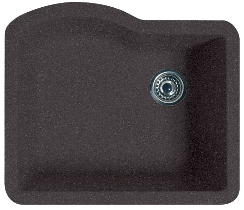 Swanstone QUSB-2522.077 24-Inch by 21-Inch Undermount Single Bowl Kitchen Sink, Nero
