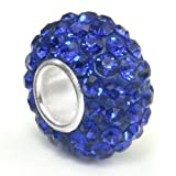 Swaroski Sapphire Blue Crystal Ball Bead Sterling Silver Charm Fits Pandora Chamilia Biagi Trollbeads European Bracelet