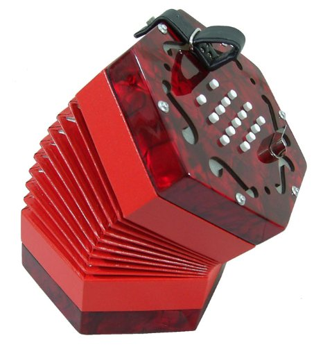 NEW 30 BUTTON ENGLISH CONCERTINA IN RED