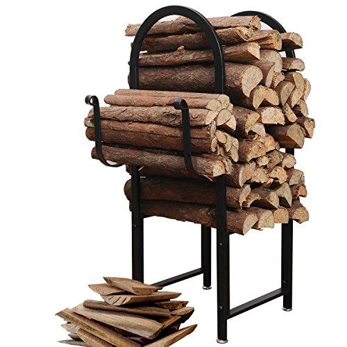 Black Powder Coated Metal Arch Design Indoor or Outdoor Firewood Log Rack w/ Kindling Holder - MyGift (Fireplace Rack 18 compare prices)
