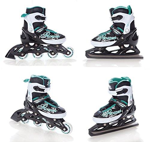 2in1 Schlittschuhe Inline Skates Inliner Croxer Flower Black/Green verstellbar