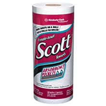 "Kimberly-Clark Scott 41482 Kitchen Roll Towel, 11"" Length x 8-49/64"" Width, White (20 Rolls of 128)"