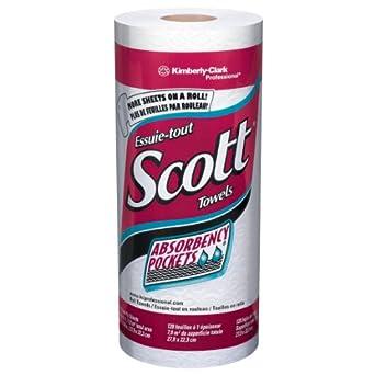 "Kimberly-Clark Scott 41482 Kitchen Roll Towel, 8.78"" Width x 11"" Length, White (20 Rolls of 128)"