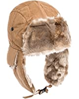 City Hunter Checkered Jacquard Trapper Bomber Cap Hat w/Faux Fur