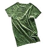 【ノーブランド 品】女性 ラウンドネック 半袖 メランジ Tシャツ ヨガ ジムトップ スポーツウェア 全4色2サイズ - XL, グリーン