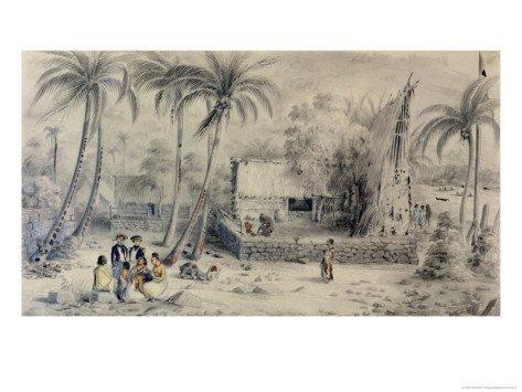 native-village-in-tahiti-circa-1841-48-giclee-print-art-12-x-9-in