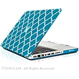 "TopCase Quatrefoil / Moroccan Trellis Aqua Blue Ultra Slim Light Weight Rubberized Hard Case Cover for Macbook Pro 13-inch 13"" (A1278/with or without Thunderbolt) - NOT for Retina Display"