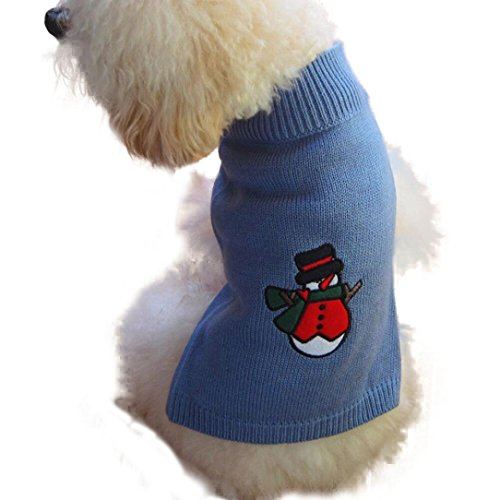 Gotd Christmas Snowman Pet Dog Puppy High Collar Warm Sweater Clothes Outwear Sweater (M, Blue) (Curse Of The Blue Lights Vhs compare prices)