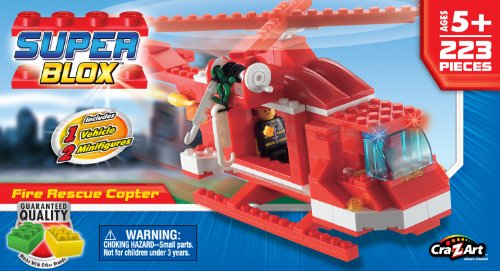 Cra Z Art Superblox Fire Rescue Copter 223 Pc N