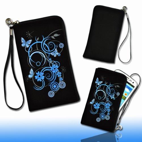 Handy Tasche Hülle Etui schwarz / blau M38 für Samsung C3312 Rex60 / S5222R Rex80 / Galaxy Young S6310 / Galaxy Young Duos S6312 / Galaxy Pocket Plus S5301 / Samsung Galaxy Pocket Neo S5310 / Alcatel OT 903D / Alcatel OT Star 6010D