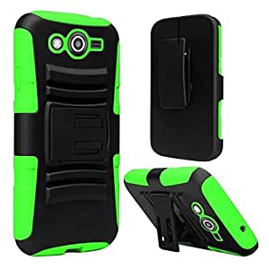 HR Wireless Side Stand Cover with Holster for Samsung Galaxy Avant - Retail Packaging - Black/Neon Green