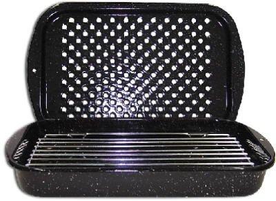 Columbian Home Products 0513-2 Broiler Pan/Rack, Black Ceramic/Steel, 3-Pc.