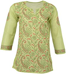 ALMAS Lucknow Chikan Women's Cotton Regular Fit Kurti (Pink and Green)