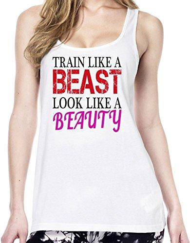 Train Like A Beast Look Like A Beauty Funny Slogan Tunica delle donne Large