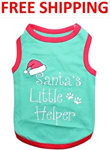 """ SANTA'S LITTLE HELPER "" - Embroidered Pet Dog Shirt - All Sizes - Free Shipping from Perisian Pet"