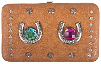 Brown Tan Silverplated Horseshoes Rhinestone Flat Wallet with Checkbook Holder