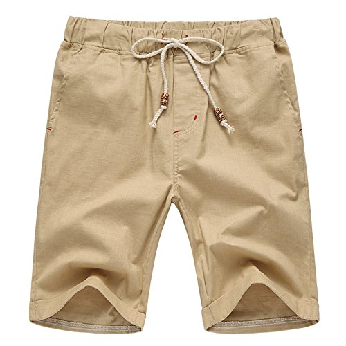 Manwan Walk Men's Linen Casual short 311 (Large, Khaki) Large Casual Shorts