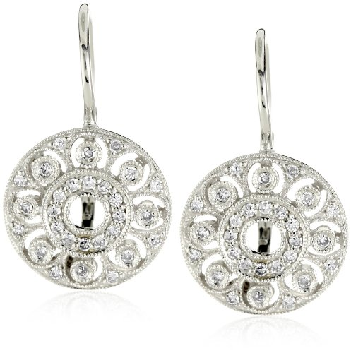 "Kc Designs ""Estate"" Diamond 14K White Gold Small Disc Earrings"