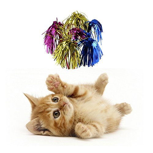Cat Teaser Toy Cheerleading Pom Poms Style with Soft Crinkle Streamers Pet Kitty Toy Cat Wand, Pole Size: 15.4