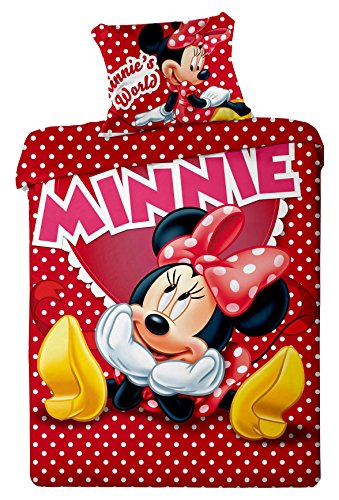 Copripiumino Cotone Disney Minnie 140x200 Cm Federa 70x90 Cm Singolo Minnie's World