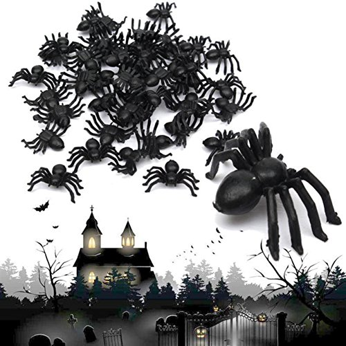 [Hestio 50pcs Plastic Black Spider Trick Toy Party Halloween Haunted House Prop Decor] (Black Spider Animated Prop)