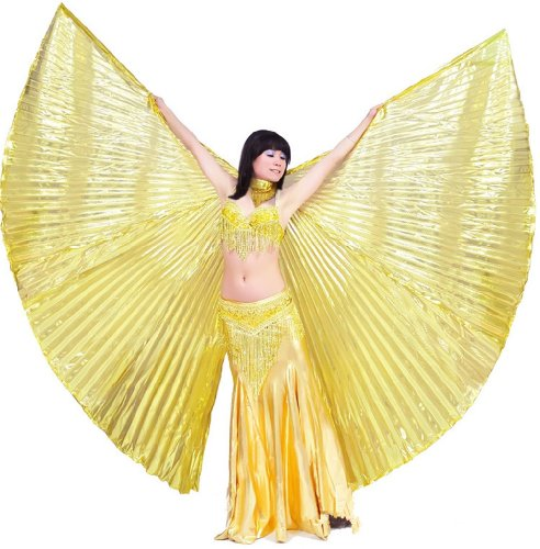 2014 Shiny golden Handmade Belly Dance Costume Isis Wings for women ladies,best gift.