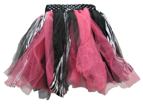 Zebra Hot Pink Fairy Shredded Chiffon Tulle Tutu front-342089